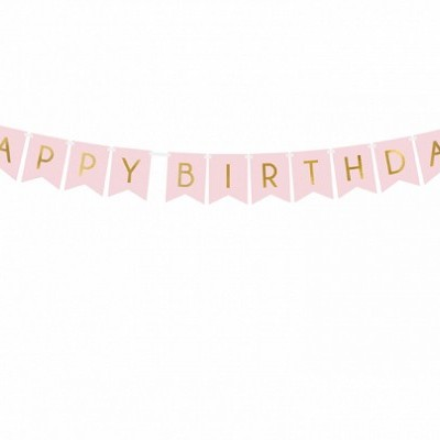 Banner Happy Birthday, Rosa Claro