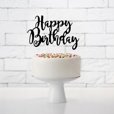 Cake Topper HBirthday Preto