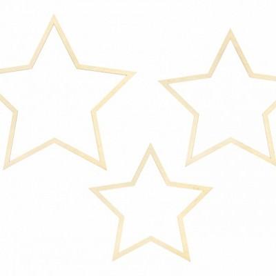Enfeite Madeira Estrelas,pk/3