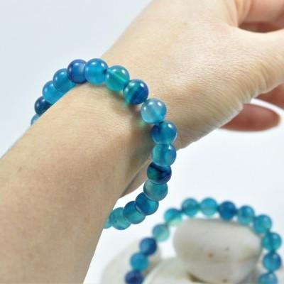 Pulseira de bolas Ágata Azul