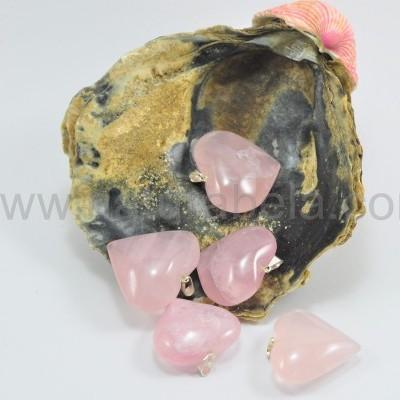 Pendente coração de quartzo rosa Grande