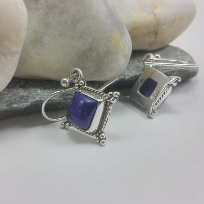 Brincos Adufe em Prata com Lapis Lazuli