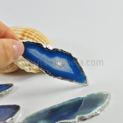 Pendente Chapa de Agata Azul em Prata