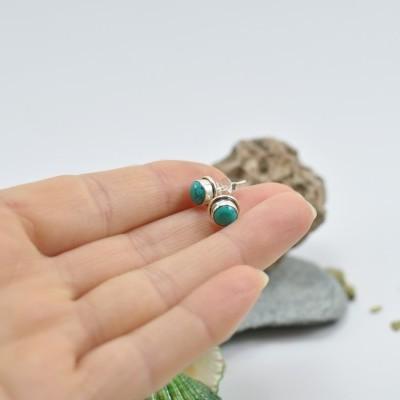 Brincos em Prata com pedra Turquesa