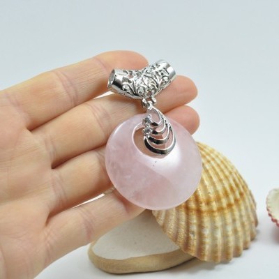 Pendente de quartzo rosa com cilindro filigrana