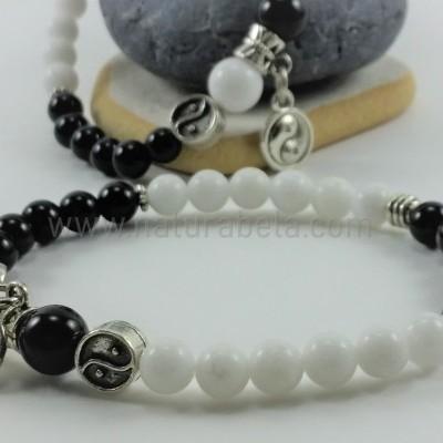 Pulseira yin-yang Jade Branco e Ágata Negra