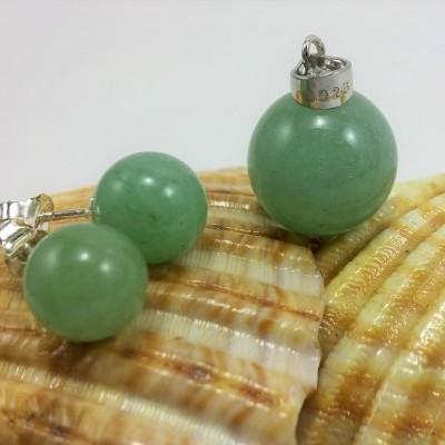 Conjunto Pendente e Brincos em Pedras Naturais Aventurina Verde