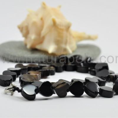 Colar Corações de Ágata negra