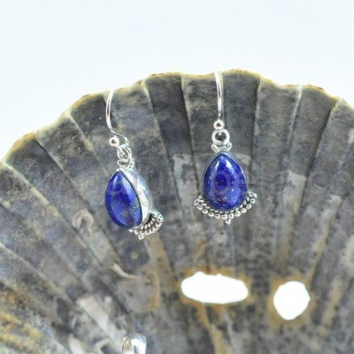 Brincos lágrima em Prata com Lapis Lazuli