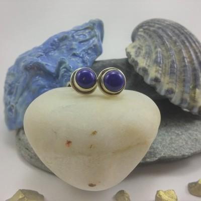Brincos em Prata com pedra Lapis-lazúli