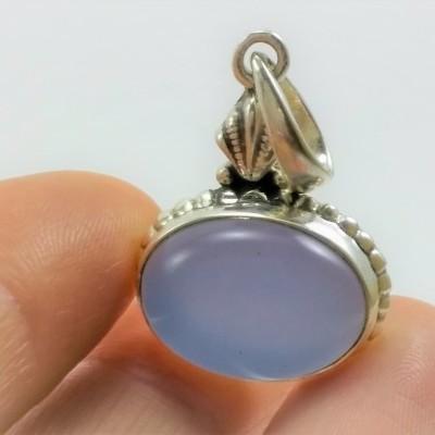 Pendente em prata com Calcedónia Azul