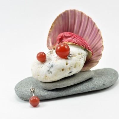 Pendente e Brincos em Pedras Naturais de Cornalina