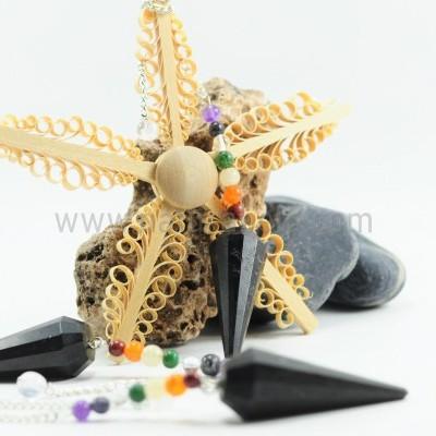 Pêndulo de Turmalina Negra com Cristais 7 Chakras