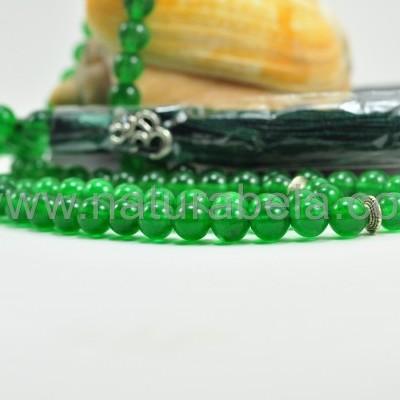 Japamala de Jade Verde 8 mm com símbolo OM