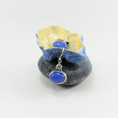 Brincos em prata com Calcedónia Azul