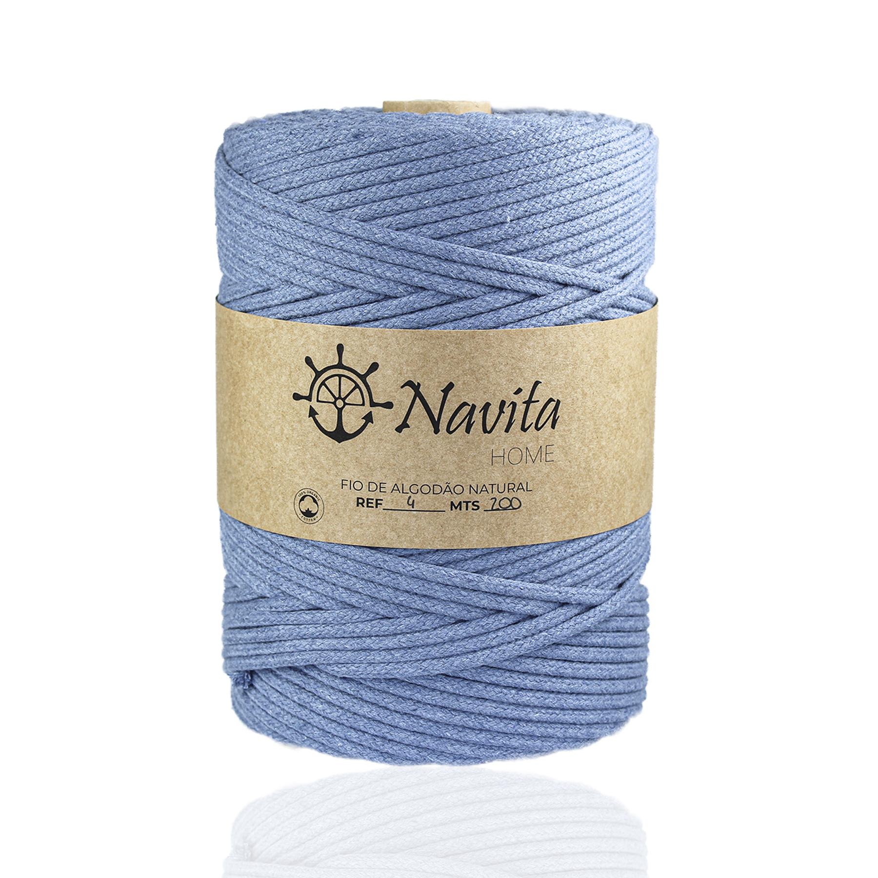 Fio Entrançado Algodão 4mm Azul Ganga