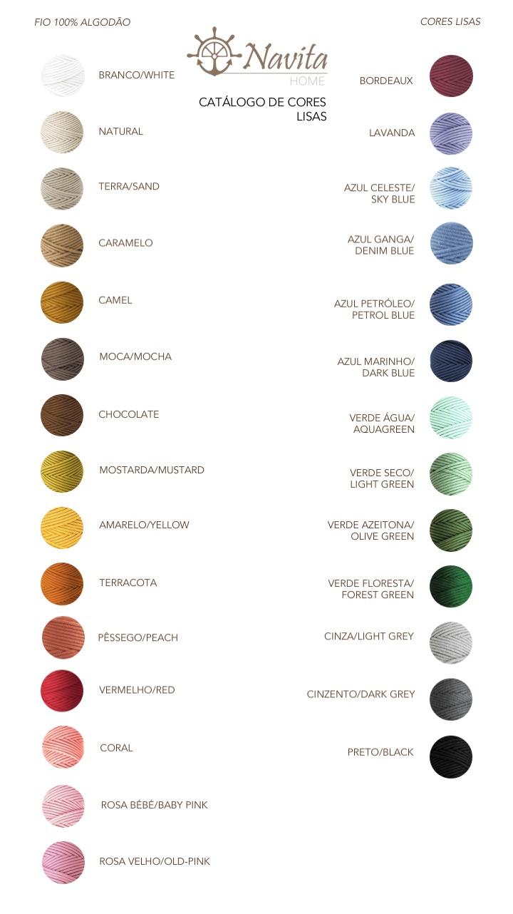 Catálogo cores fio algodão lisas