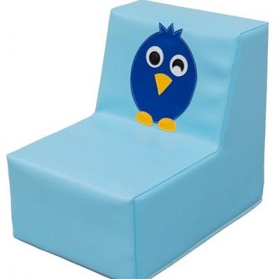 Sofá individual pássaro azul com 30x40x37cm. Assento:17cm