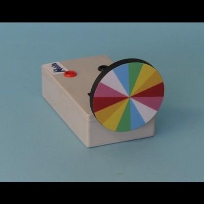 Disco colorido de Newton com motor