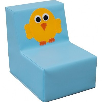 Sofá individual pássaro amarelo com 30x40x37cm. Assento:17cm