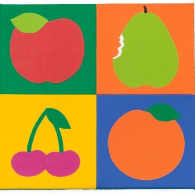 Tapete frutos com 130x130x3cm