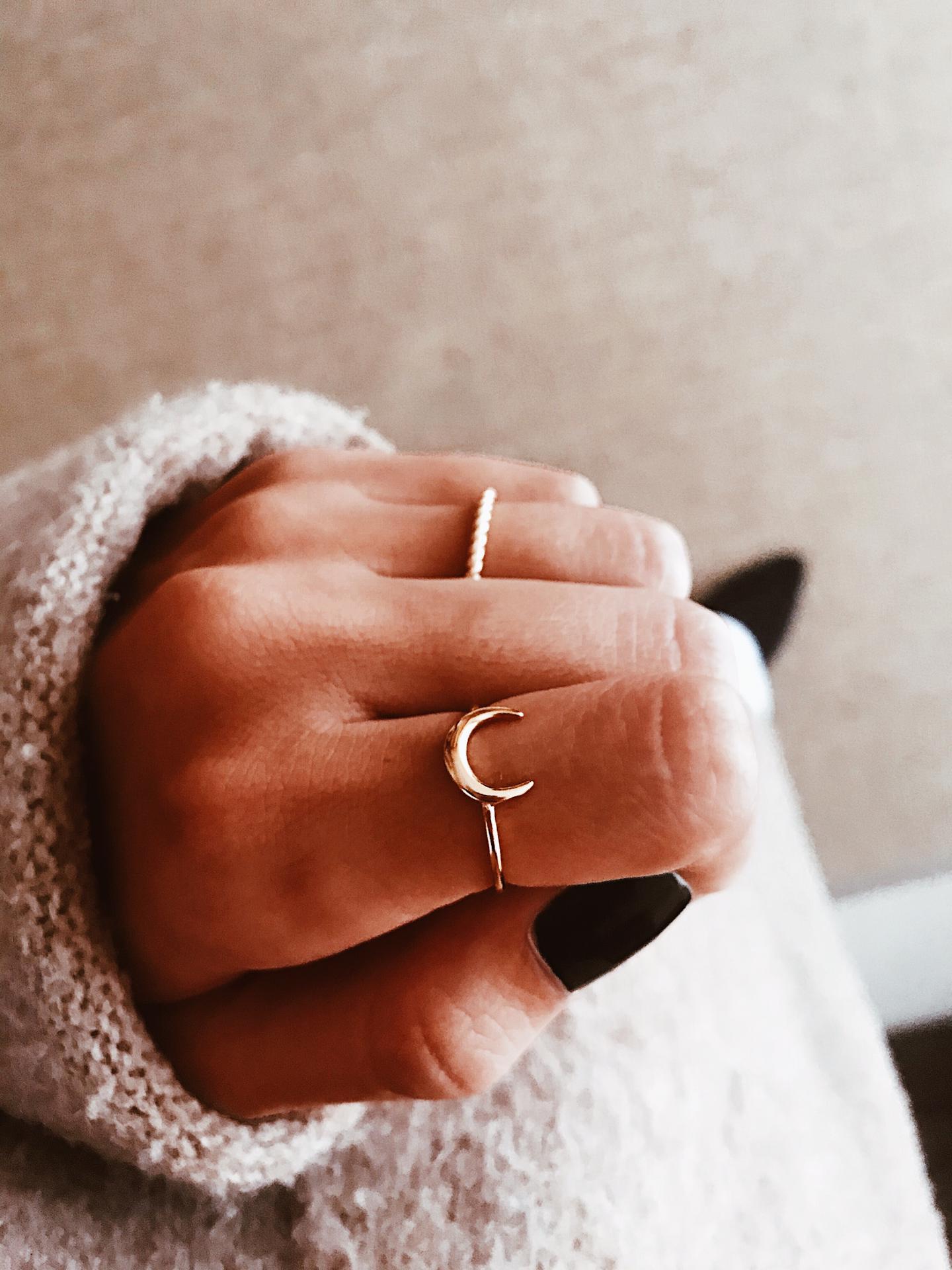 Anel em prata dourada - Moon