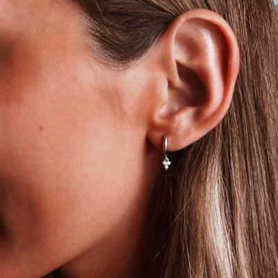 Brinco em prata 925 - three little Diamonds