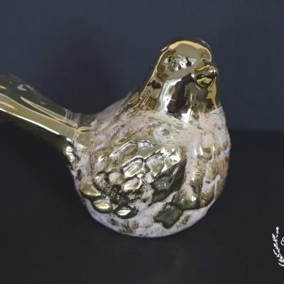 Pássaro cerâmica 11x17,5x9cm dourado ref. 1609