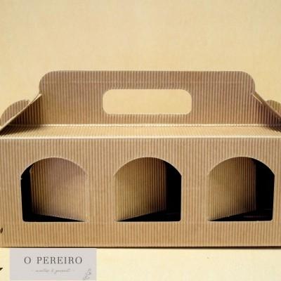Caixa papel kraft CX2111 p/ colocar 3 produtos