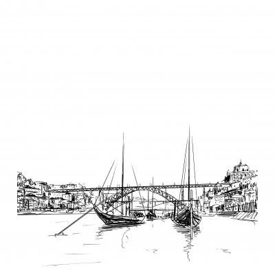 ponte luiz I e barcos rabelos