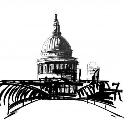 Catedral de S. Paulo e ponte Milénio :: Londres