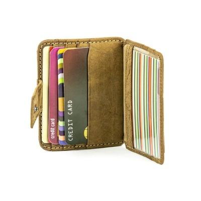 Porta-cartões com porta-moedas em pele Castanho