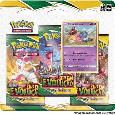 Pokémon TCG: Céus em Evolução Blister Triplo: Slowpoke de Galar (PT)