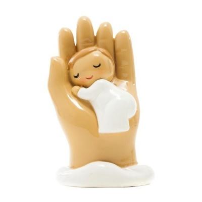 Anjo Protetor bebé na mão (roupa branca)