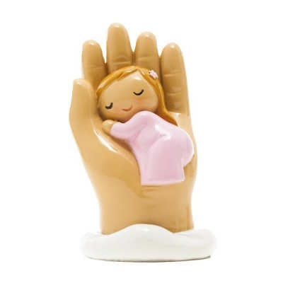 Anjo Protetor bebé na mão (roupa rosa)