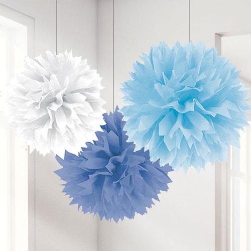 Conj.  Pompons Grandes Azul e Branco
