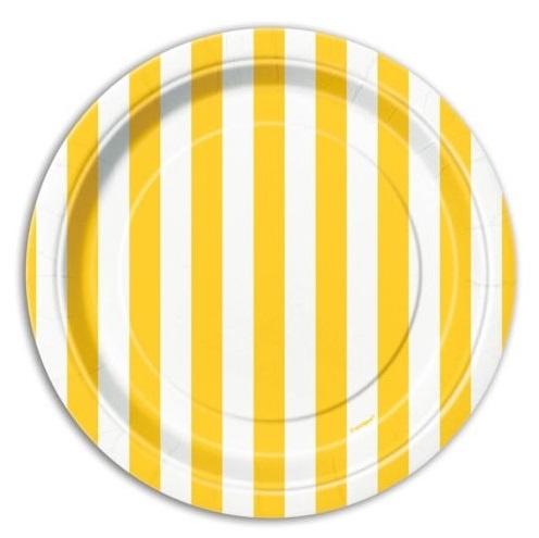 Pratos Amarelo Riscas Pequenos
