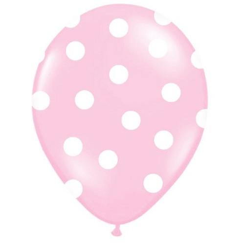 Conj. 6 Balões Rosa Claro Bolas