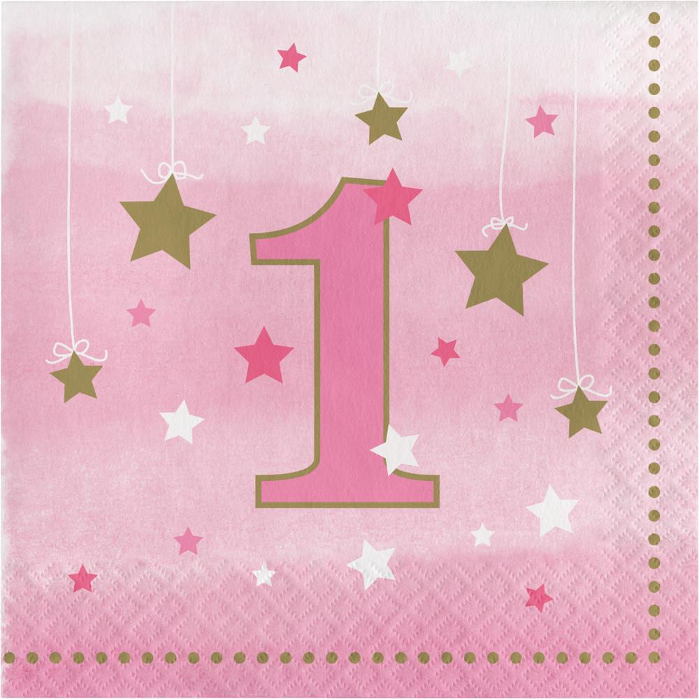 Guardanapos 1º Aniversário Estrela Rosa