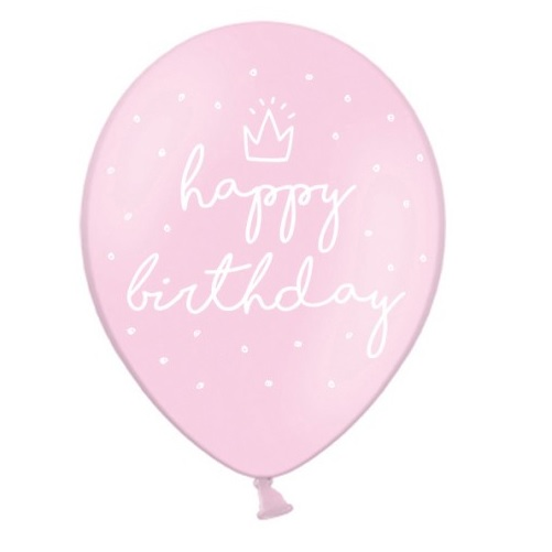 Conj. 6 Balões Rosa Happy Birthday