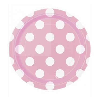 Pratos Rosa Claro Bolas Pequenos