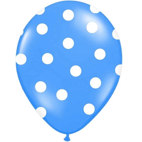 Conj. 6 Balões Bolinhas Azul