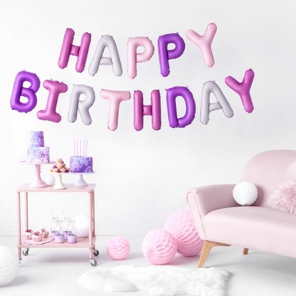 Balões Happy Birthday Rosa e Lilás