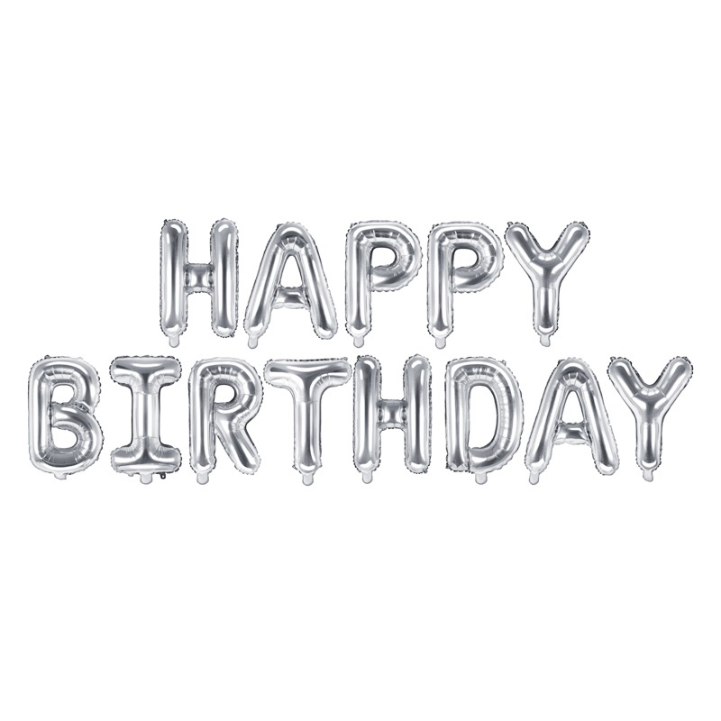 Balões Happy Birthday Prateados