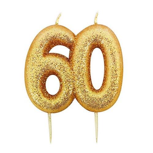 Vela Número 60 Glitter Dourado