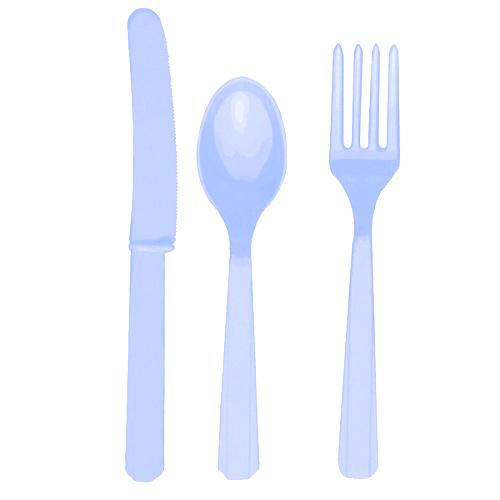 Talheres Plástico Azul Claro Conj.