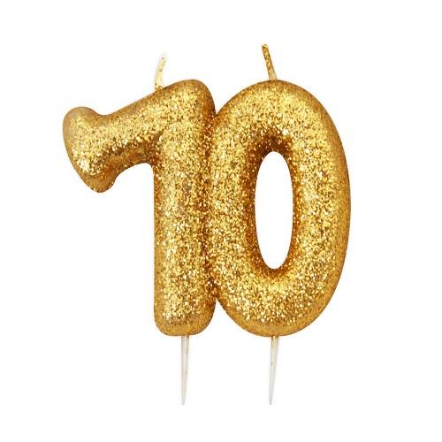 Vela Número 70 Glitter Dourado