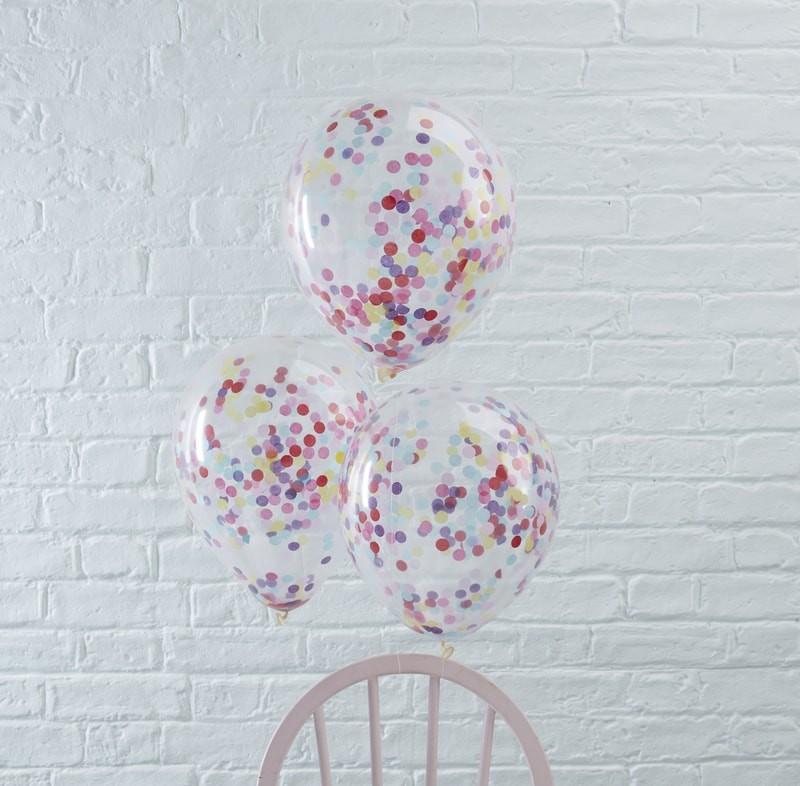 Conj. 5 Balões Confetis Coloridos