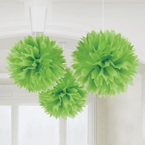 Conj. 3 Pompons Grandes Verdes