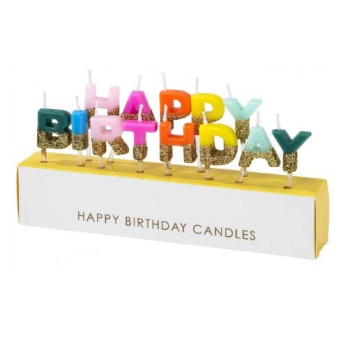 Velas Happy Birthday Rainbow Gold